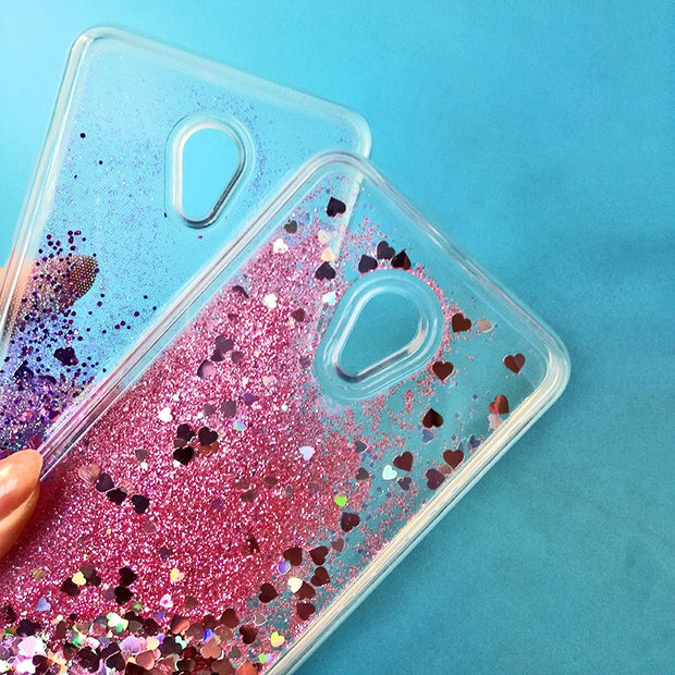 Love Heart Star Glitter Phone Case For Meizu M6 Note M5S M3 Note M5 Note MX6 M6S M6 Cover Quicksand Dynamic Liquid Silicone Capa