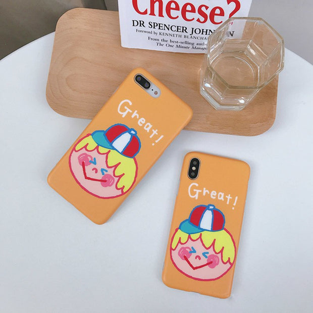 Lovely Hat Boy Image Phone Case For Iphone 7 8 6 6s Plus Case For Iphone X Back Soft Cover Fashion Cartoon Colorful Cases Coque