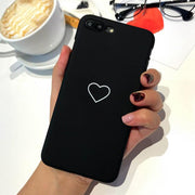 Lovers Heart Phone Case For Iphone 7 Case For Iphone 6 S 6S 8Plus 7Plus X XS Max Xr 5 5s Se Hard Cover Black Pink Couple Coque
