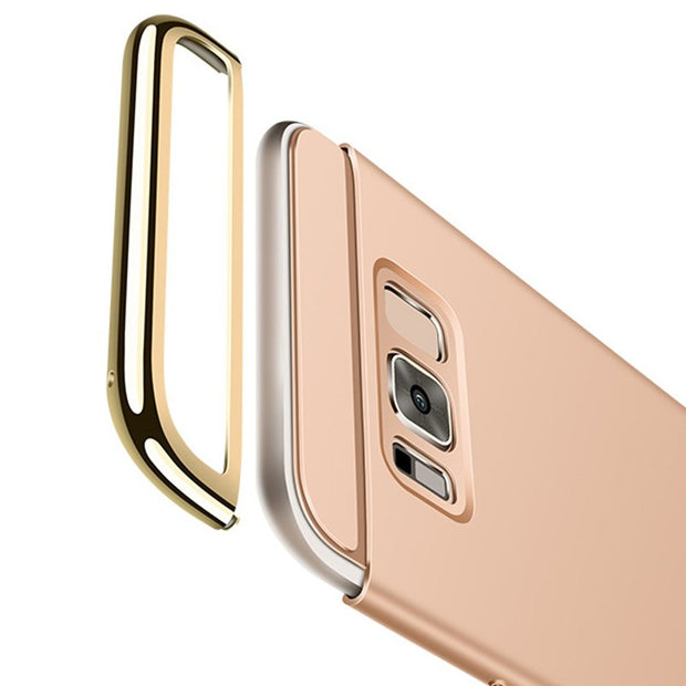 Luxury 3 IN 1 Electroplated Armor Case For Galaxy S8 S7 S6 Edge Full Protect Matte Hard PC Phone Cover Cases For Samsung Note 8