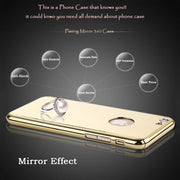 Luxury 360 Degree Full Body Protection Case For IPhone 5 5s SE 6 6s Plus Armor Hard Plating PC Mirror Back Cover + Glass Film
