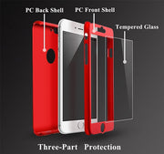 Luxury 360 Full Protective Case For IPhone X 8 7 6 6s Plus Hard PC Phone Case With Tempered Glass Film For IPhone 8 6 6s 7 Plus
