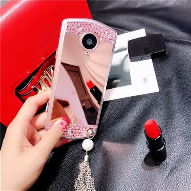 Luxury Crystal Bling Diamond Rhinestone Soft TPU Mirror Cases Cover For Huawei Honor 8 9 10 7X Lite V8 V9 V10 Nova 2 2S Plus