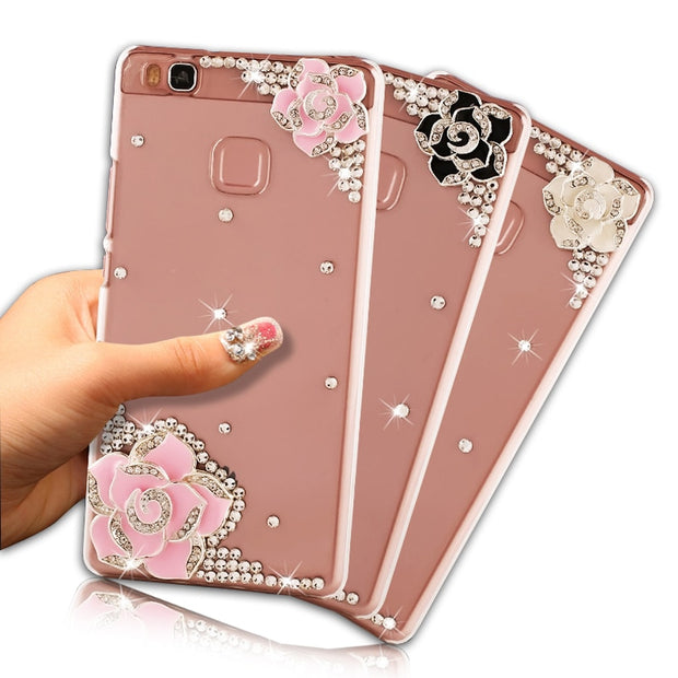 Luxury Diamond Case For Huawei P9 Lite Hard PC Crystal Bling Rhinestone Transparent Cover For Huawei Ascend P9 Lite 5.2 Inch