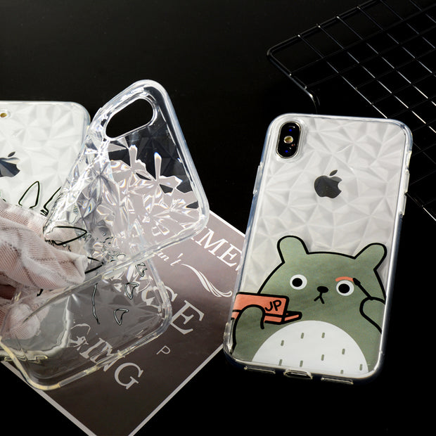 Luxury Geometric Diamond Texture Transparent Soft Cover For IPhone 6 6S 7 8 Totoro Rhombus Clear Case For IPhone X Case