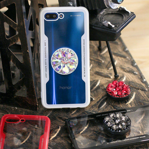 Luxury Glitter Diamond Case For Huawei Honor 10 Lite 7C Y9 2018 Enjoy 8 Plus 3D Bling Grip Stand Holder Cover Hard Back Cases