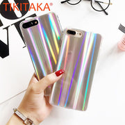 Luxury Laser Rainbow Colorful Shining Mirror Case For Iphone X 8 7 6 6s Plus Fitted Cases Ultra Thin Soft TPU Cover Phone Cases