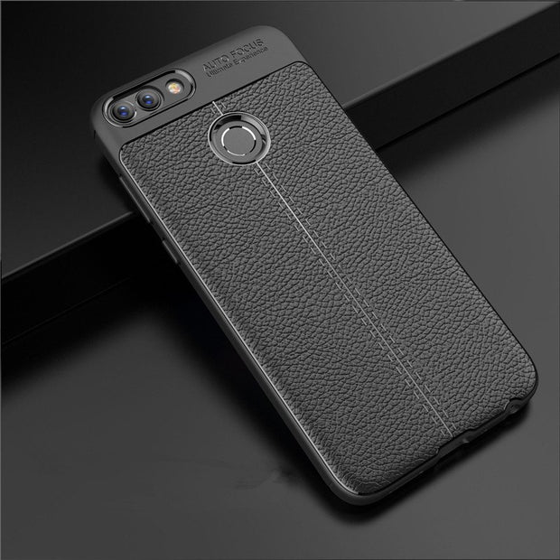 Luxury Litchi Pattern Leather Rubber Protection Fundas Coque For Huawei Enjoy 7S Phone Case For Huawei P Smart Cover Capa