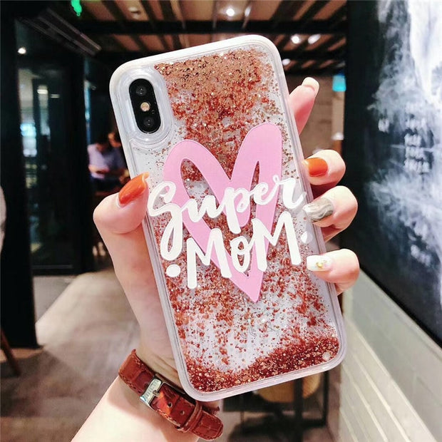 Luxury Love Heart Case Funda For IPhone X Liquid Quicksand Case Coque IPhone Xs Max Xr 6 6s 7 8 Plus Phone Case Gold Color Cover