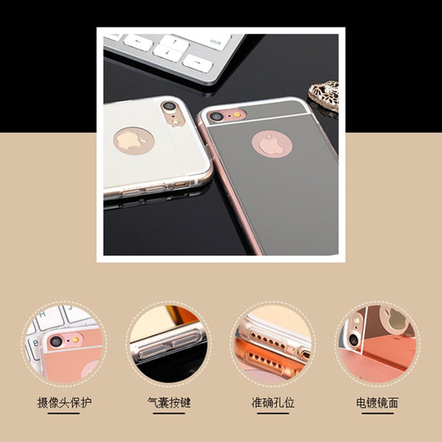 Luxury Mirror TPU Capa Soft Silicone Case Protector Cover For IPhone 6 6S Case 6 7 Plus 5 5S Soft TPU Cover For IPhone X Case