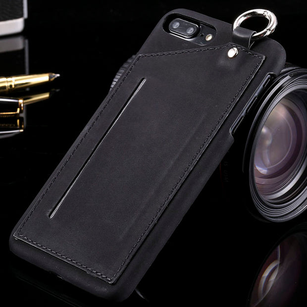 Luxury Phone Cases For Iphone 7 6 6s Plus Case Card Slots Hard Back Cover Retro PU Leather Wallet Coque With Metal Ring Carcasas