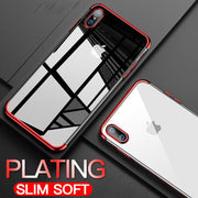 Luxury Plating Clear TPU Case For IPhone 6 6s 7 8 X Transparent Silicon Phone Case For IPhone 7 8 6 6S Plus Soft Protect Shell