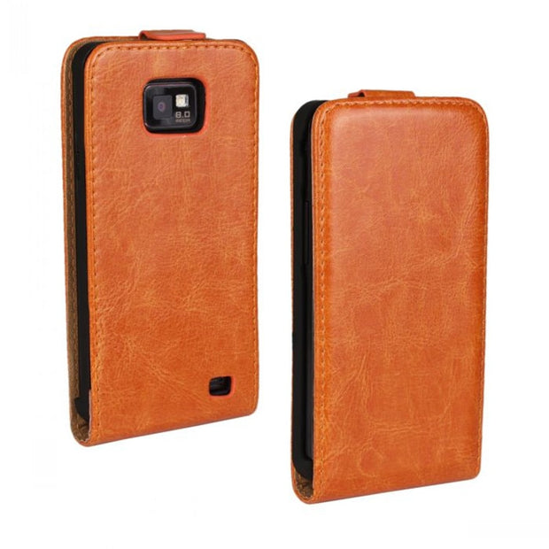 Luxury S2 Crazy Horse Leather Flip Case Cover For Samsung I9100 Galaxy S2 Plus I9105 S II Magnet Cover
