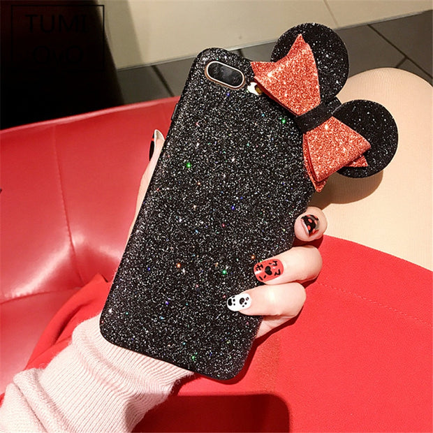 online store 063b6 bfe8d Luxury Shine Bling Minnie Mouse Ear Soft TPU Case For IPhone 6 6s 7 8 Plus  Back Phone Cover Cases 3D Bowknot Flash Powder