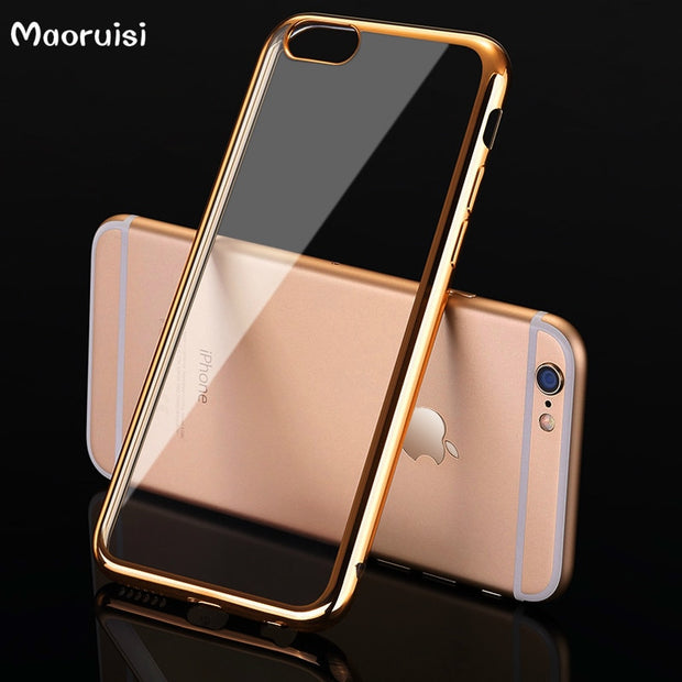 Luxury Soft Silicon Case For IPhone 5 5S 5C SE 6 6S 7 8 X Plus Gold Plated Flexible TPU Bumper Ultra Thin Phone Back Cover Slim