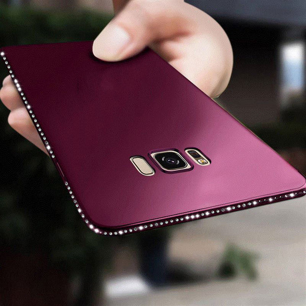 Luxury Solid Glitter Diamond Phone Case For Samsung Galaxy S8 S9 Plus Note 8 S7 S7 Edge Ultra Slim Soft Silicone TPU Back Cover