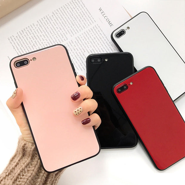 Luxury Tempered Glass Case For IPhone 7 Case Fashion Ultra Slim Mirro Hard Cover For IPhone X 6 6s 8 Plus Shockproof Phone Cases