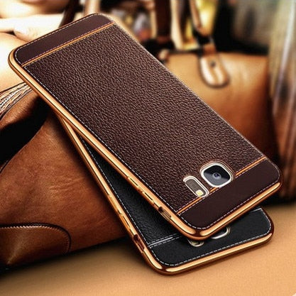 Luxury Ultra Slim Business Leather Litchi Texture Soft Back Cover Phone Cases For Samsung Galaxy S8 Plus S7 Edge S6 Coque Fundas