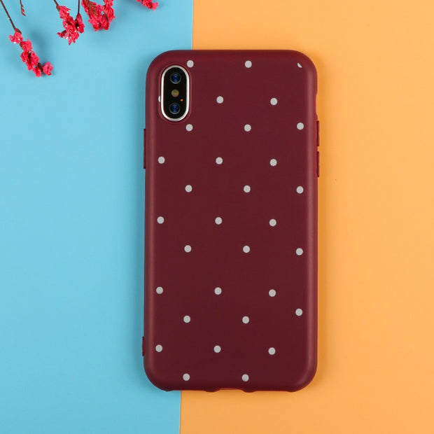 Luxury Wine Red Ploka Dots Phone Case For IPhone X 7 8 6 6S Plus 5 5S SE Case Wave Point Back Cover Slim Soft TPU Cases
