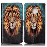 Luxury Printing Leather Phone Case For Motorola Moto G5 Flip Case Holder Phone Cover Fundas Animal Lion Owl Wolf Tiger Pattern