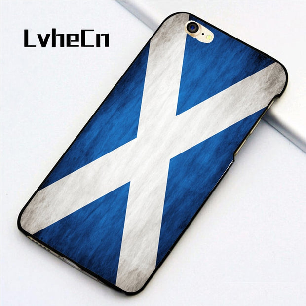 LvheCn 5 5S SE Phone Cover Cases For Iphone 6 6S 7 8 Plus X Back Skin Shell Scotland Flag Satire Scottish Vintage