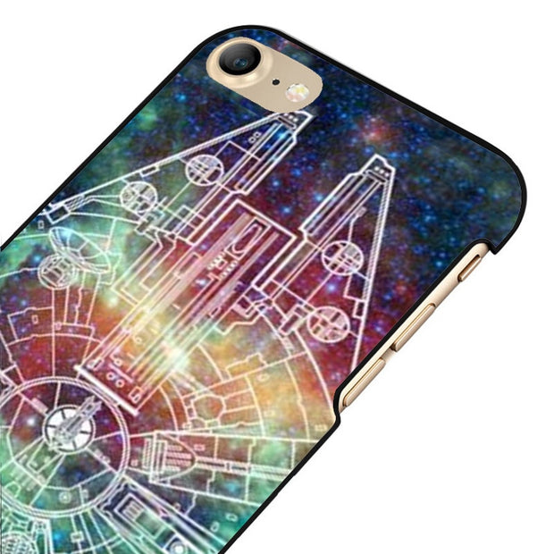 LvheCn 5 5S SE Phone Cover Cases For Iphone 6 6S 7 8 Plus X Back Skin Shell Star Wars Millennium Falcon Nebula