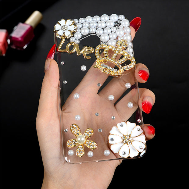 MAVISSDIARY 3D Handmade Bling Glitter Diamond Phone Case For Huawei Y6 / Y6 Scale /Honor 4A Hard Clear Crystal Back Cover Funda