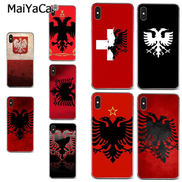 finest selection 3c22a 5a566 MaiYaCa Albania Russia Flag On Sale! Luxury Cool Phone Case For IPhone X XS  MAX XR 6S Plus 5S 7 8PLUS Case Cover