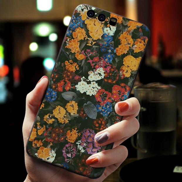 MaiYaCa Charming, Bright Lotus And Rose TPU Black Phone Case Cover For Huawei P20 P20pro P20 Lite 6.39''mate 20Pro P9 V9 V10