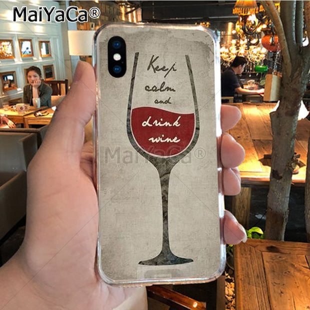 MaiYaCa Glass Of Red Wine Pure Text OUO Retro Diy Colorful Printing TPU Phone Case For IPhone X XS MAX 5 6SPLUS 7 8plus Case