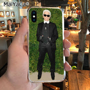 MaiYaCa Popular Fashion Man Karl Lagerfeld Green Classic Image Paintings Phone Case For IPhone X XS MAX 5 6SPLUS 7 8plus Case