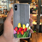 MaiYaCa Red Pink Purple Tulip Flower Soft Tpu Phone Case Cover For IPhone 8 7 6 6S Plus X XR XS MAX 5S SEcase Shell