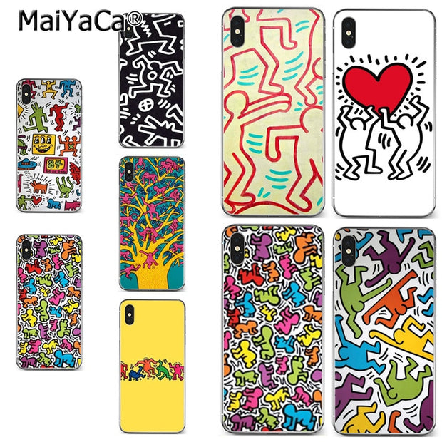 Maiyaca Simple Art Keith Haring Art Printing Drawing Protection Phone Cover Case For Iphone 8 7 6 6s Plus X Xr Xs Max 5s Secase