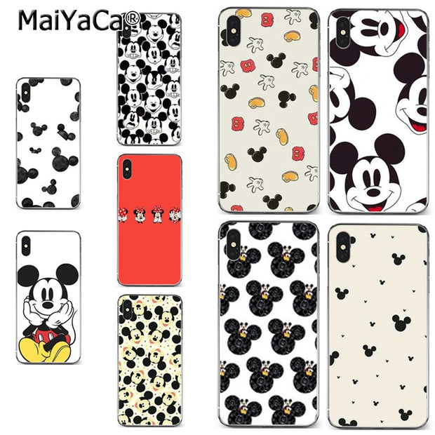 MaiYaCa Stylish Black And White Mickey Mouse Soft Tpu Phone Case Cover For IPhone 8 7 6 6S Plus X XR XS MAX 5S SEcase Shell