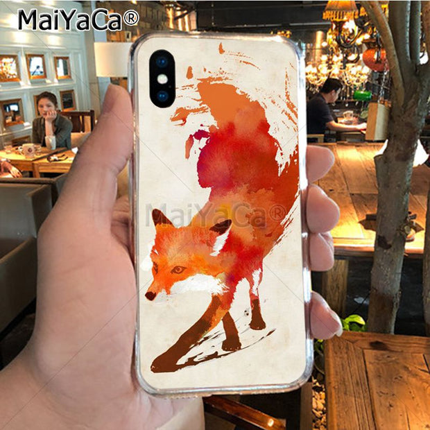 MaiYaCa Cute White Fox Transparent Soft Tpu Phone Case Cover For IPhone X XS MAX XR 6S Plus 5S 7 8PLUS Case Cover