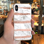 MaiYaCa Pink Rose Gold Marble Soft Tpu Phone Case Cover For IPhone 8 7 6 6S Plus X XR XS MAX 5S SEcase Shell