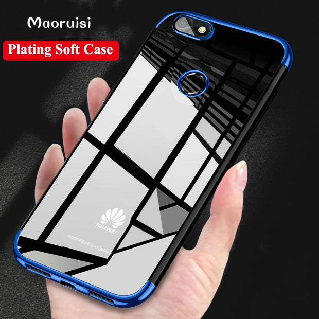 Maoruisi Case For Huawei P Smart Case Luxury Laser Plating Transparent Soft Clear Back Cover For Huawei P Smart Phone Bag Cases