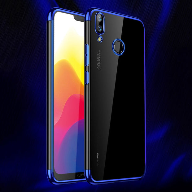 Maoruisi For Huawei P20 Lite Case Luxury Laser Plating Transparent Soft Back Cover For Huawei P20 Pro Honor 9 Lite Phone Cases