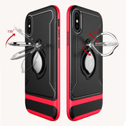 Maple Leaf Car Magnetic Back Cover For IPhone X XR Xs Max Case Metal Ring Shockproof Case For IPhone 8 7 6 6S Plus Stand Cover