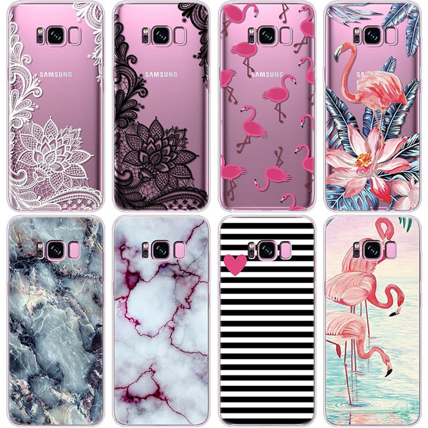 Marble Cases FOR Samsung Galaxy Coque S8 Plus Case For Samsung Galaxy S8 Phone Case Flamingo Rubber Thin Transparent TPU Capa