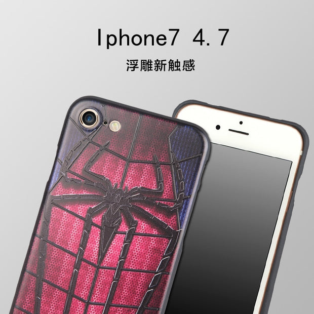 Marvel Spiderman Batman Captain America Coque For IPhone 5 SE 6 6s 7 7 Plus Soft Silicon 3D Stereo Relief Painting Cases Cover