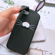 New Creativity 3D Cartoon Cute Ear Rabbit Silicone Phone Case For Iphone X 8 7 6 6s Plus 5 S SE Case Cat Beard Soft Rubber Cover