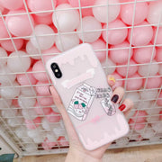 New Fashion Cartoon Pink For IPhoneX Mobile Phone Case Coque Capa For IPhone 6S 7 8 Plus Matte TPU Phone Case Cute Cartoon Funda