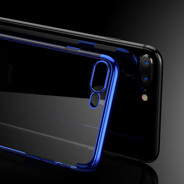 Original Clear TPU Phone Case For IPhone X 8 7 6 6s Plus 7Plus 8Plus Cases Luxury Plated Ultra Slim Transparent Silicone Cover