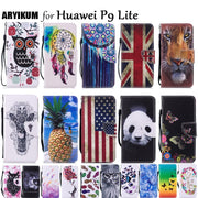 PU Leather Case SFor Etui Huawei P9 Lite Case P9Lite Stand Function Card Holder Phone Wallet Cover For Coque Huawei P9 Lite Case