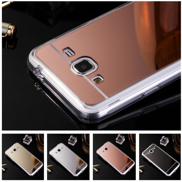 Phone Case For Samsung Galaxy J3 Luxury Rose Gold Mirror Soft TPU Mirror Back Cover For Samsung Galaxy J3 2016 J310 Capa Bags