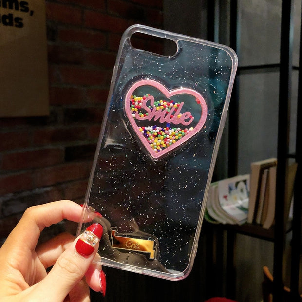 Phone Case For IPhone 6 6S Plus 7 8 X Rolling Yolk Heyytle Love Heart Liquid Cute Soft Back Cover For IPhone X 10 Shining Cases