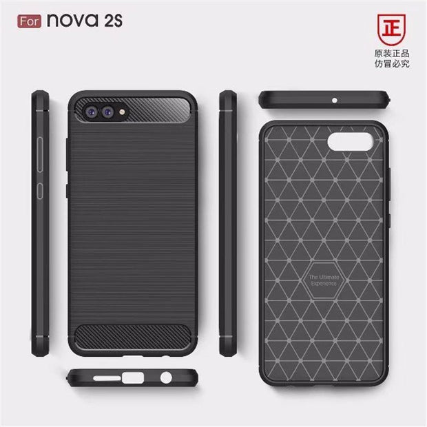 Phone Cases For Huawei Nova 2S Case 6.0 Inch Luxury Carbon Fiber Anti-drop TPU Soft Cover For HUAWEI Nova 2S Back Cover