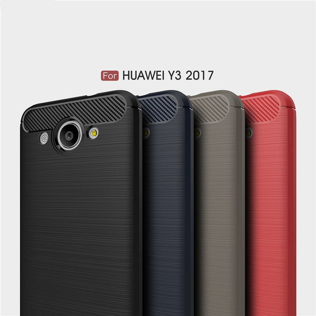 Phone Cases For Huawei Y3 2017 Case 5.0'' Luxury Carbon Fiber Anti-drop TPU Soft Cover For Huawei Y3 2017 Back Cover
