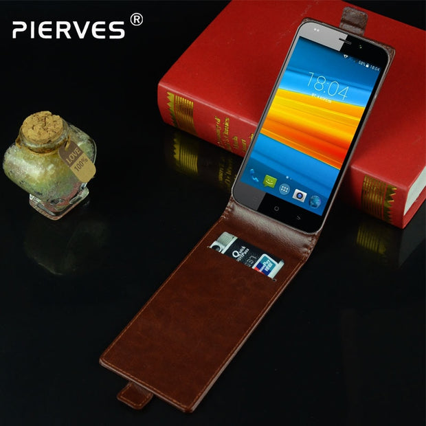 Pierves G0 Luxury Card Slot Flip Cover PU Leather Case For DEXP Ixion M255 Pulse